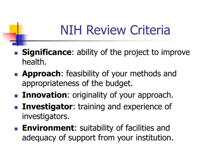 NIH Review Criteria