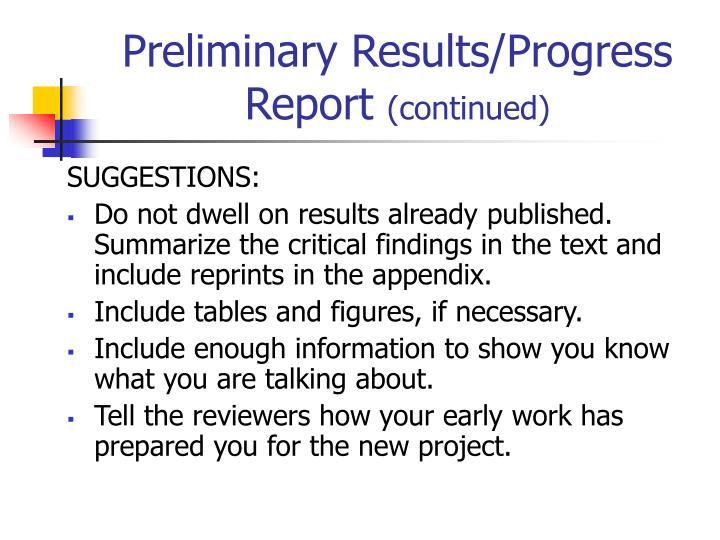 Preliminary Results/Progress Report
