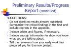 preliminary results progress report continued1