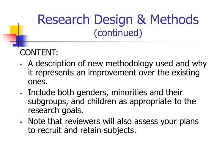 Research Design & Methods