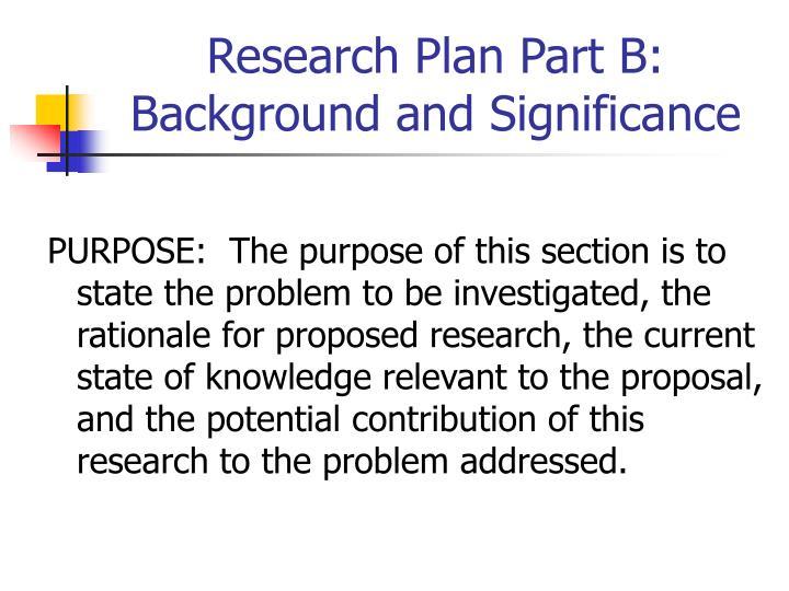 Research Plan Part B: