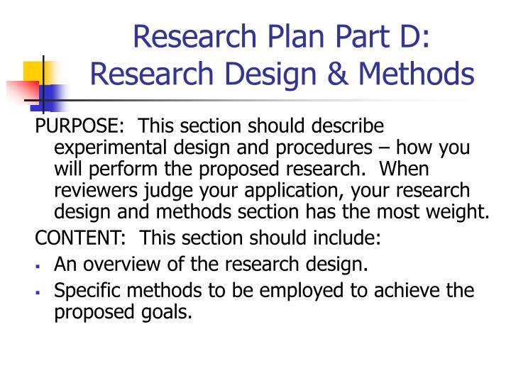 Research Plan Part D: