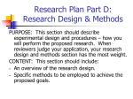 research plan part d research design methods