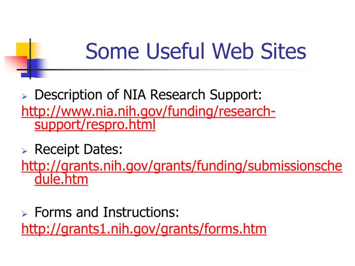 Some Useful Web Sites