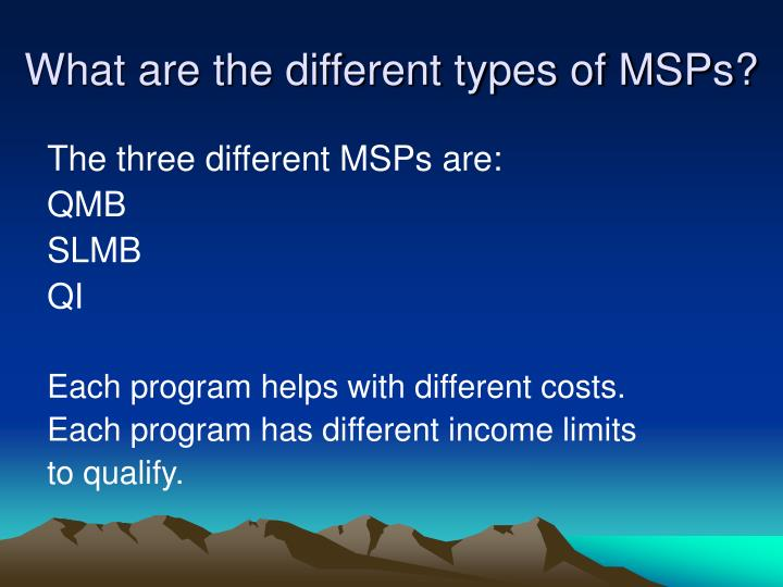 What are the different types of MSPs?
