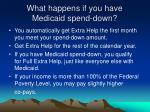 what happens if you have medicaid spend down