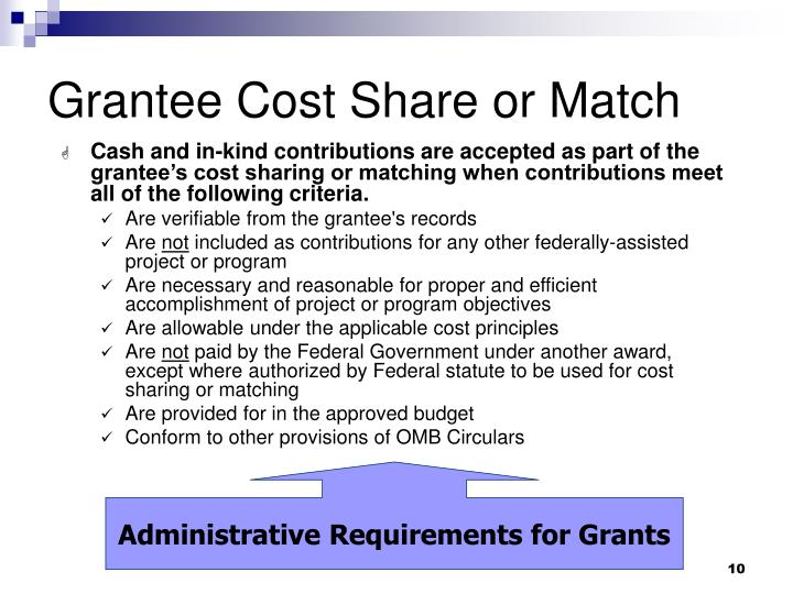 Grantee Cost Share or Match