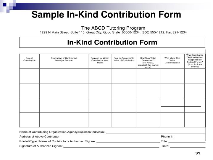 Sample In-Kind Contribution Form