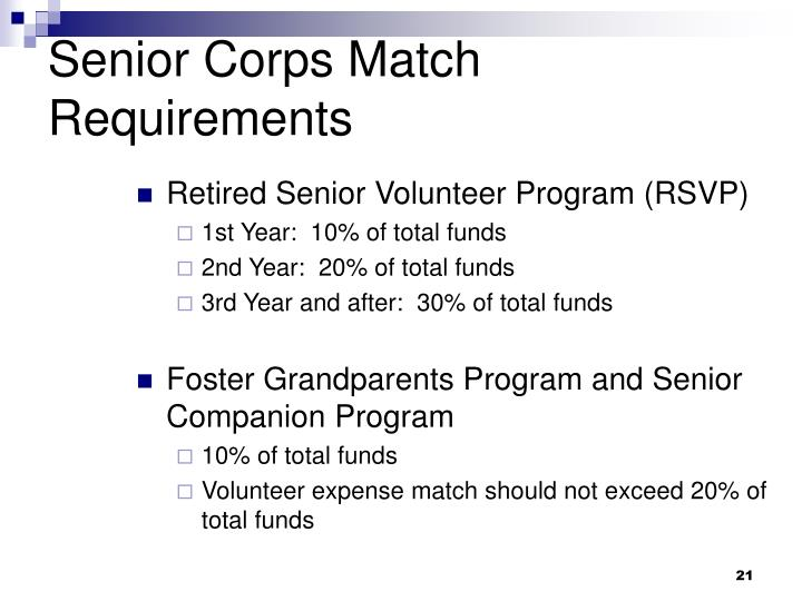 Senior Corps Match Requirements