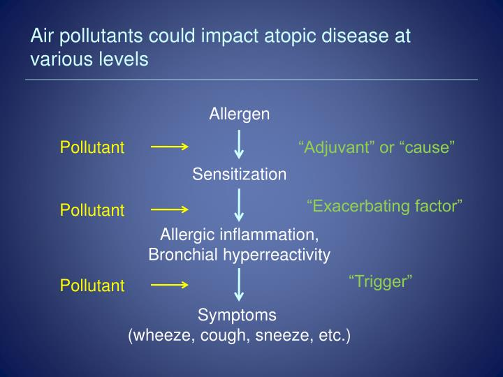 Air pollutants could impact atopic disease at various levels
