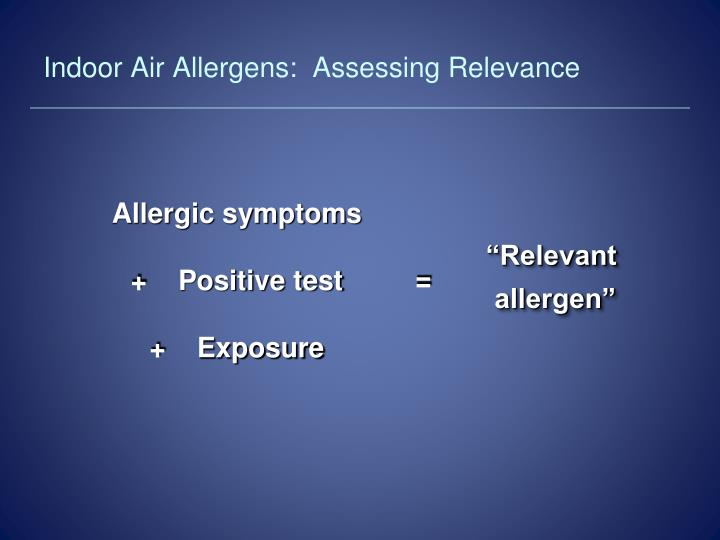 Indoor Air Allergens:  Assessing Relevance