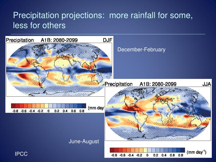 Precipitation projections:  more rainfall for some, less for others