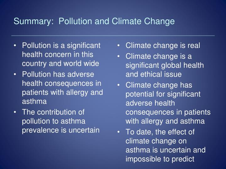 Summary:  Pollution and Climate Change