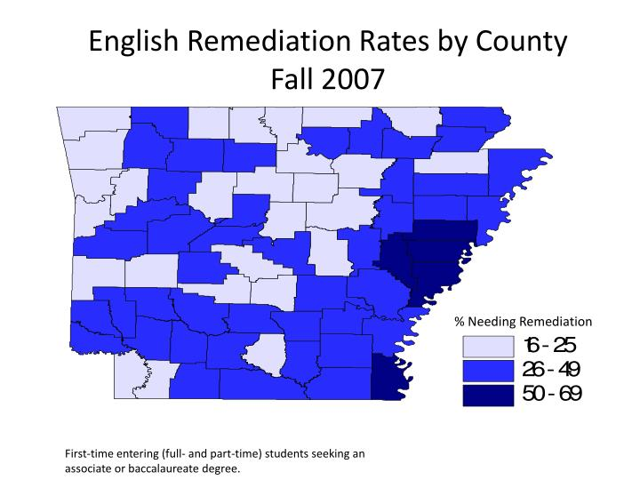 English Remediation Rates by County