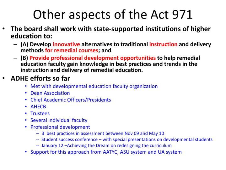 Other aspects of the Act 971