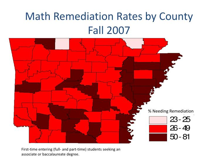 Math Remediation Rates by County