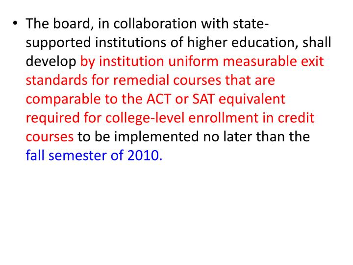 The board, in collaboration with state-supported institutions of higher education, shall develop