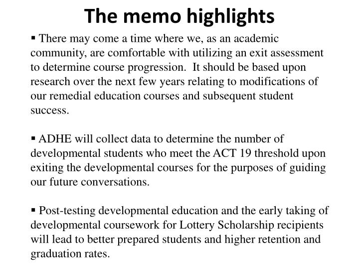 The memo highlights