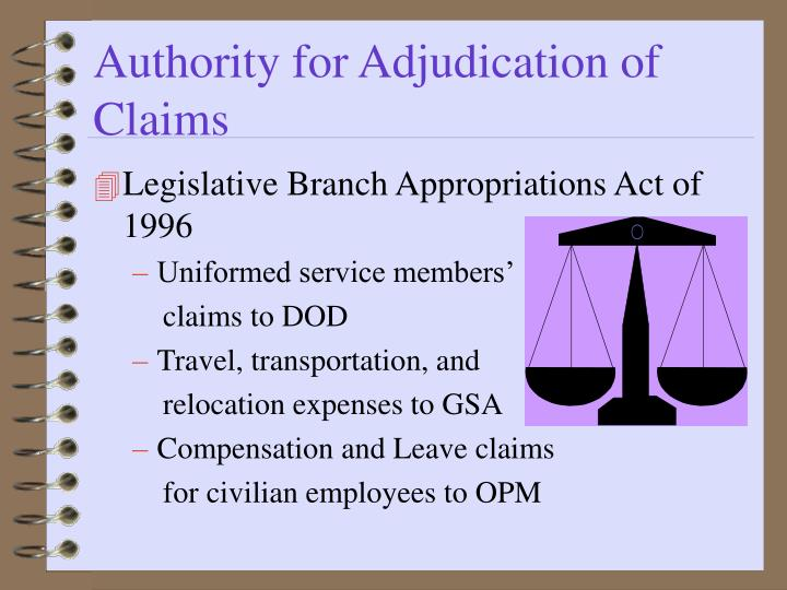 Authority for Adjudication of Claims