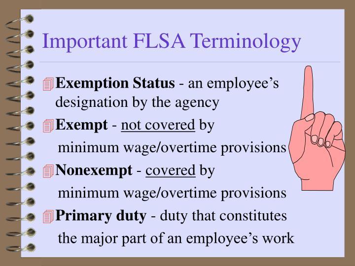 Important FLSA Terminology