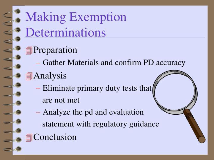 Making Exemption Determinations