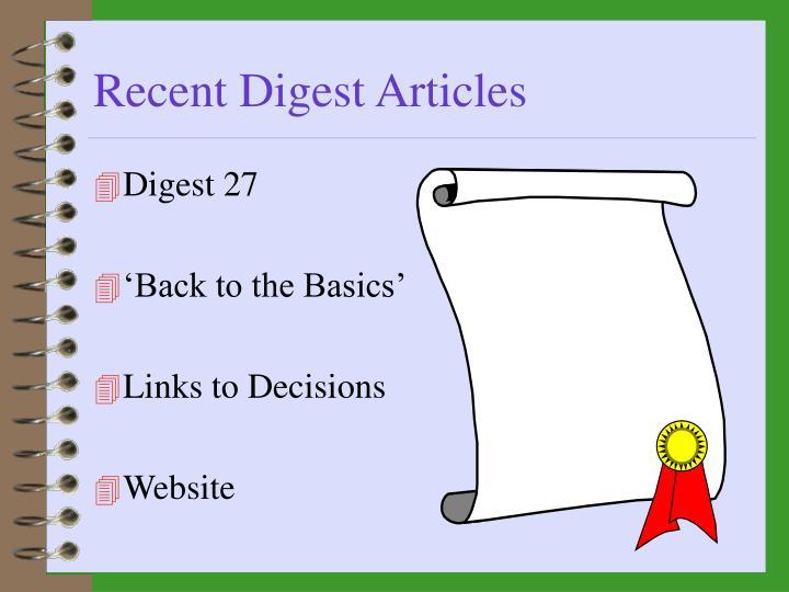 Recent Digest Articles