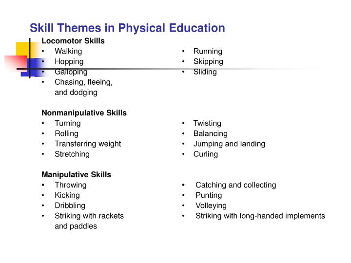 Skill Themes in Physical Education