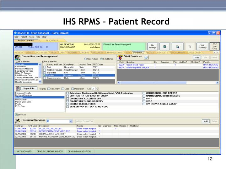 IHS RPMS – Patient Record