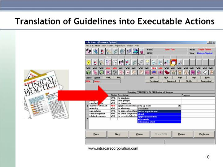 Translation of Guidelines into Executable Actions