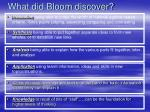 what did bloom discover