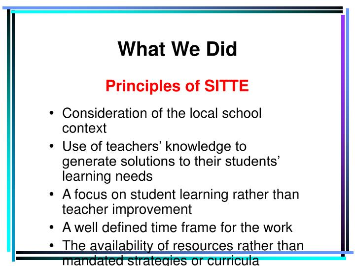 Principles of SITTE