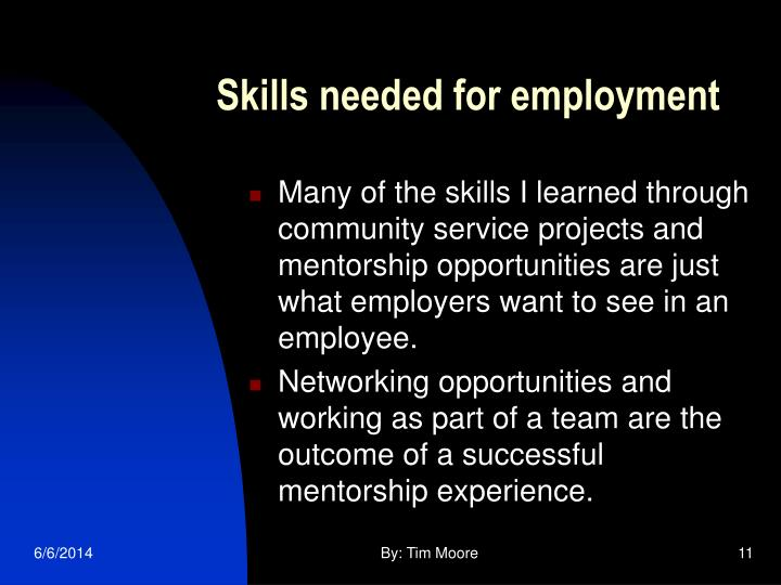 Skills needed for employment