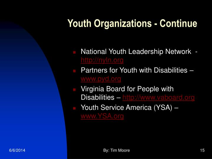 Youth Organizations - Continue