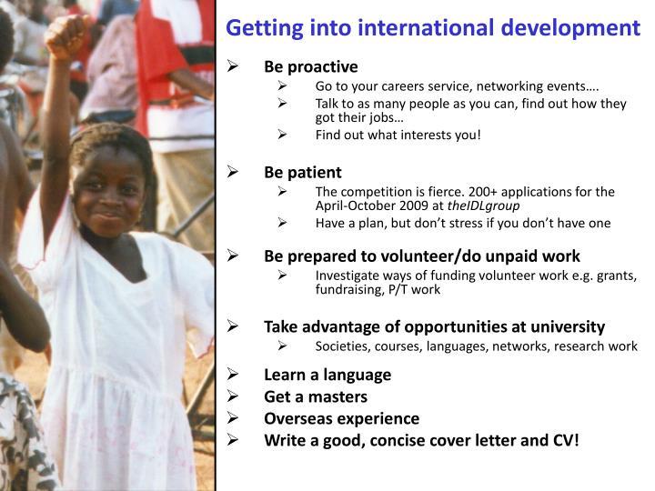 Getting into international development