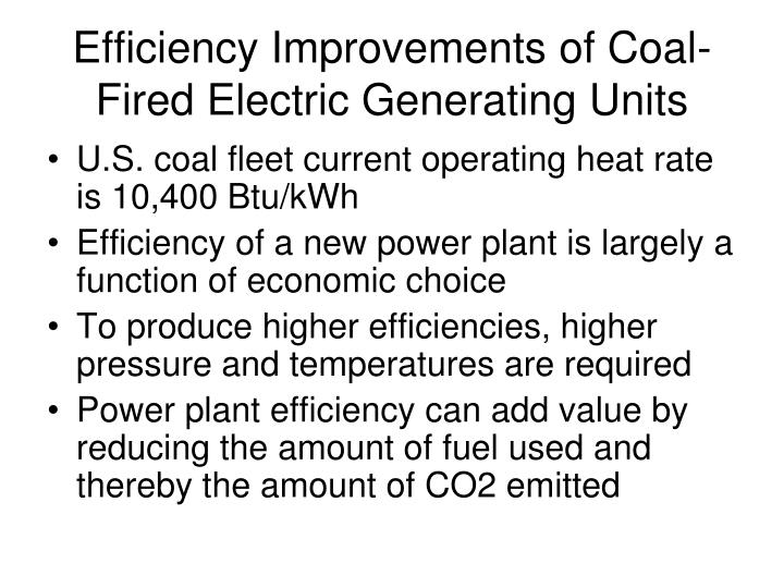 Efficiency Improvements of Coal-Fired Electric Generating Units
