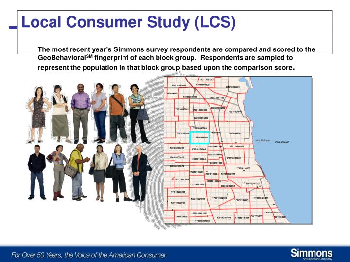 The most recent year's Simmons survey respondents are compared and scored to the GeoBehavioral