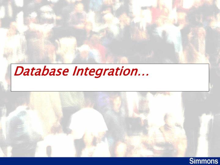 Database Integration…