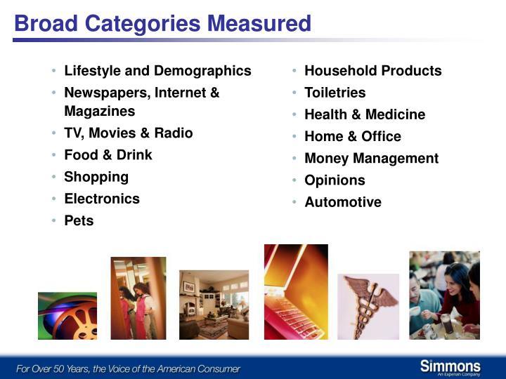 Broad Categories Measured