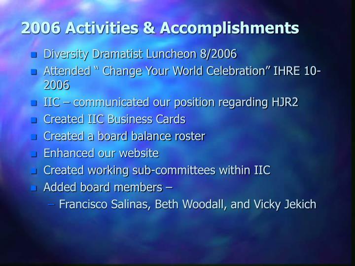 2006 Activities & Accomplishments