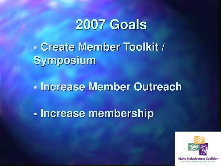 2007 Goals