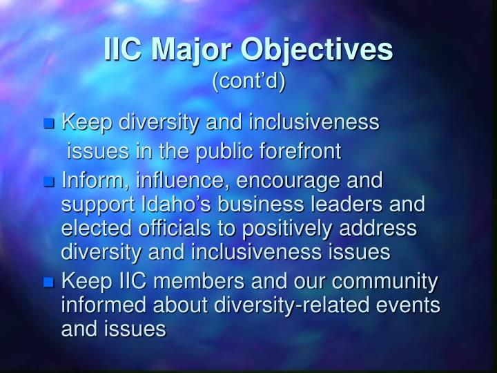 IIC Major Objectives
