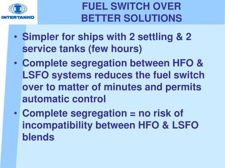 FUEL SWITCH OVER