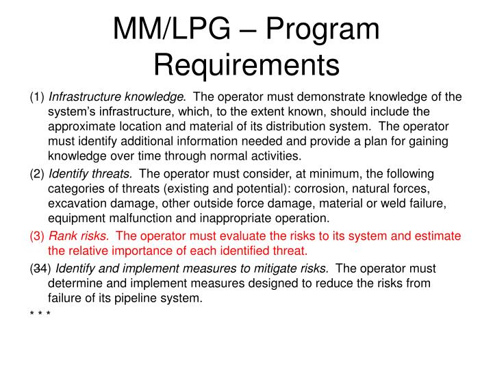 MM/LPG – Program Requirements