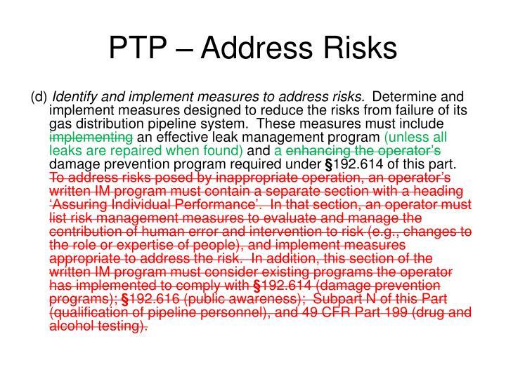 PTP – Address Risks