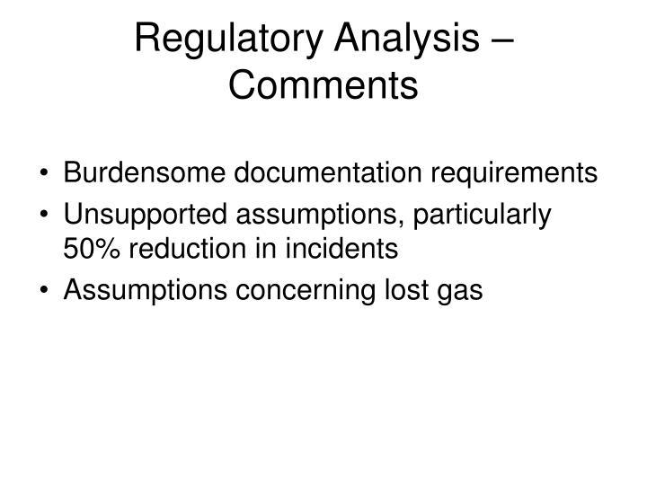 Regulatory Analysis – Comments