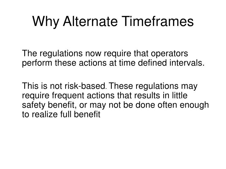 Why Alternate Timeframes