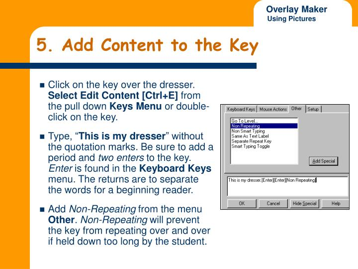 5. Add Content to the Key