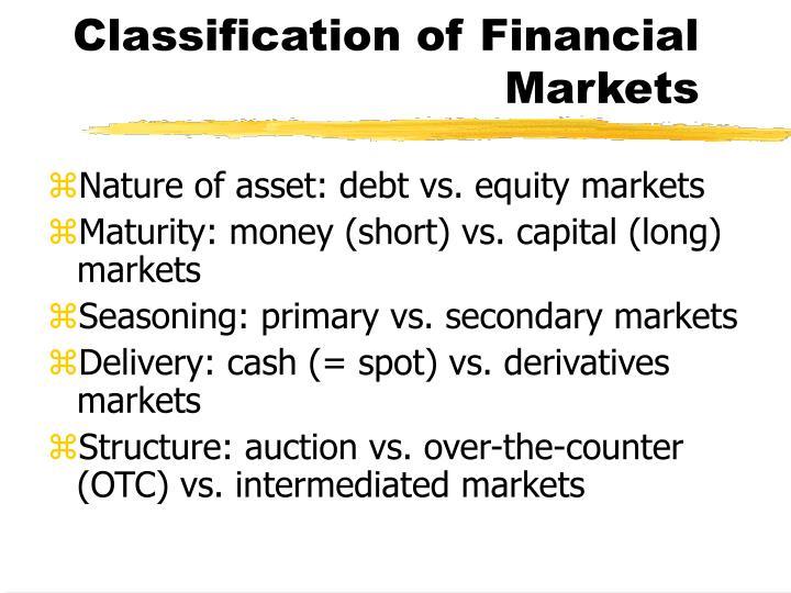 Classification of Financial Markets