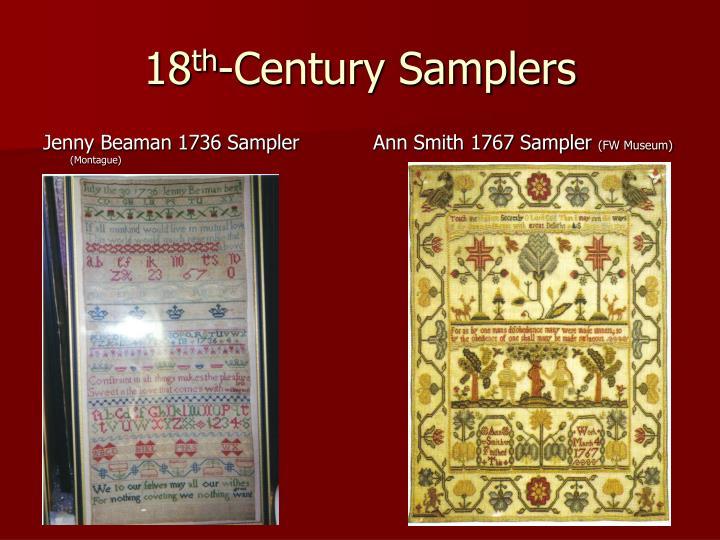 Jenny Beaman 1736 Sampler