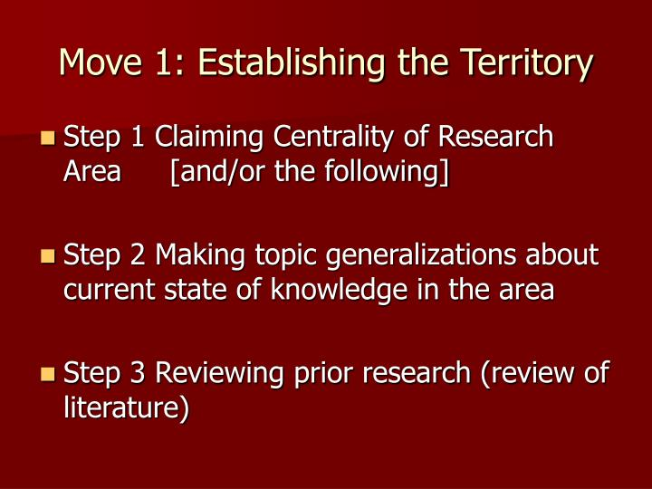 Move 1: Establishing the Territory